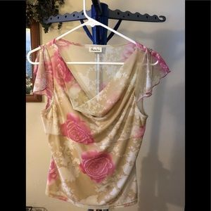 Charlotte Russe Pink and Cream Flower Blouse